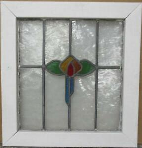 """OLD ENGLISH LEADED STAINED GLASS WINDOW Colorful Floral Design 21"""" x 22.25"""""""