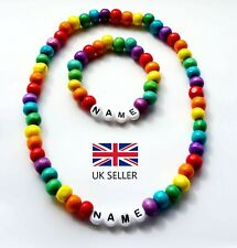 PERSONALISED RAINBOW WOODEN BABY NECKLACE BRACELET SET BIRTHDAY–ANY NAME, COLOR