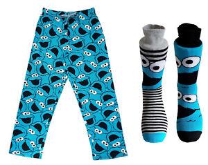 Mens Cookie Monster Loungepants & 2pk Socks Gift Pack Christmas Stocking Filler
