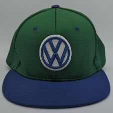 VOLKSWAGEN VW Embroidered Logo Hat Flex Fitted Cap Small Medium S/M Green Blue
