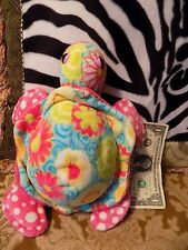 Douglas The Cuddle Toy Bright Pink w Turquoise & Yellow Floral Soft Plush TURTLE