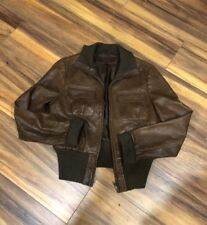 MEN'S ADRIANO GOLDSCHMIED (AG) BROWN LEATHER JACKET Size L