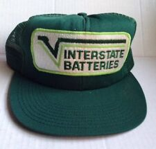 1980s INTERSTATE BATTERIES TRUCKER BASEBALL CAP HAT, USA, GREEN, VINTAGE