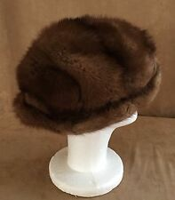 "Mink Fur Vintage hat womens brown 22"" cap cloche skiing winter unisex small"