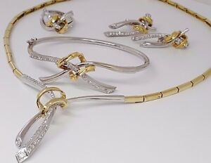 Italy 18k Two Tone Gold 2.5 ct Diamond Earrings Bangle Ring & Necklace Set 70g