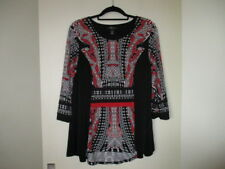 black top white red pattern and sparkly bits  size L  style & co