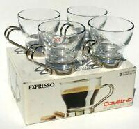 Set Of 4 Covetro By Bormioli Rocco Fine Expresso Cups Italian Glassware Chrome