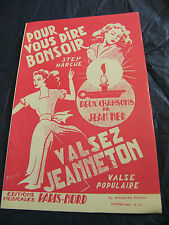 Partition For vous dire bonsoir Jean Ned Waltz Jeanneton Music Sheet