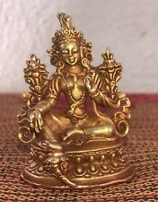 """Green Tara Statue for Dharma in Nepal Tibet Electro Gold Copper 2 1/2"""" High"""