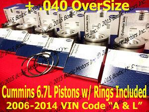 Dodge CUMMINS 6.7 6.7L PISTONS +.040 w/Rings 2006-2014 MAHLE Matched Set