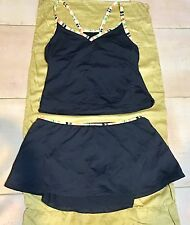 Anne Cole Black Tankini With Bottom Attached Skirt ~Size : Large~