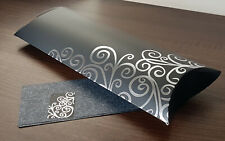 10 PILLOW GIFT BOXES WEDDING BLACK SILVER WITH GIFT WRAP PAPER & NAME CARD NEW