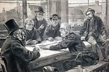 Knowles 1883 OLD MEN Playing GAME of DOMINOES Gambling Betting Antique Engraving