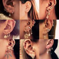 Retro Punk Feather Moon Cross Cactus Ear Clip Stud Earrings Women Jewelry Charm