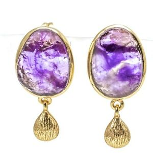Fashion Earrings With Bezel Set Natural Raw Amethyst, 14K Gold Overlay