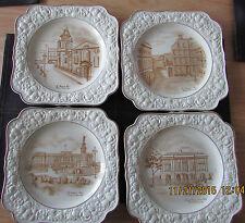 Set of 4 Vintage Crown Ducal Florentine England Square Plates