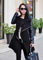 Womens Wool Leather Long Sleeve Coat Lapel Zipper  Jacket Overcoat Trench Parkas