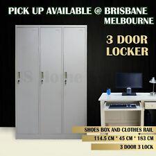 3 Door Locker Metal Storage Cabinet Locker Office Gym School Shop Steel Safe