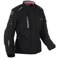 Oxford Dakota Women's Waterproof Textile Motorcycle Motorbike Jacket Tech Black