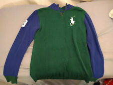 Boys Sz XL Green/Blue Ralph Lauren Polo Large Logo Quarter Zip Sweater