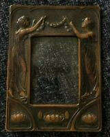 Vintage Art Nouveau Lady Cast Bronze Photo Picture Frame Easel Stand