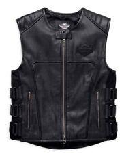 Harley Davidson Passing Link Vest Cafe Racer Black Biker Genuine Leather Vest
