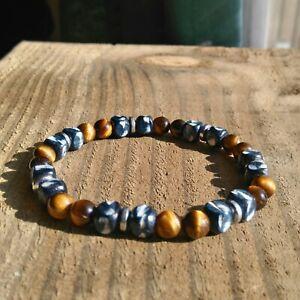 Mens/Ladies UNIQUE! Gemstone Bracelet Tiger Eye Natural Stone Surfer Style.