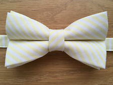 Bow Tie | Funky Handmade Yellow Lemon & White Candy Stripe Bow Tie | Pre-tied