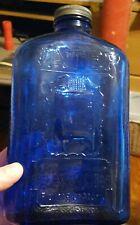 Vintage Cobalt Blue Glass Franklin Refridgerator Water Bottle Embossed