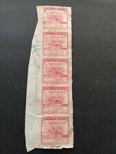 China - Revenue - strip of five stamps cancelled on paper