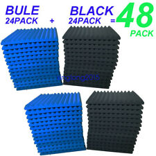"48 Pack Acoustic Foam Panel Wedge Studio Soundproofing Wall Tiles 12"" X 12"" X 1"""