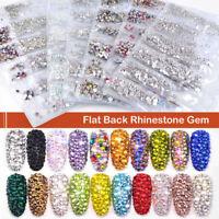 3D Flat Back Crystal Diamond Nail Art Rhinestones DIY Glitter Nail Art Tip Decor