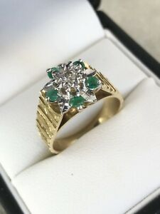 Vintage 18ct Yellow Gold Emerald & Diamond Flower Cluster Ring Size O A7777