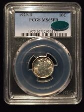 1929 D Mercury Dime PCGS MS65FB CAC 10c Silver UNC Cent Dollar Winged Liberty BU