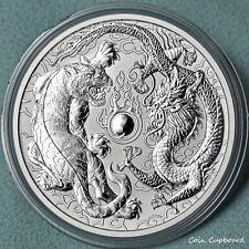 """2018 Australia 1oz .999 silver """"Dragon & Tiger"""" coin in capsule."""
