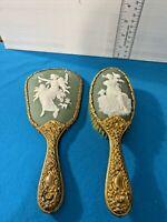 Lot Of 2 Antique Wedgwood Porcelan Hand Mirror And Brush Cherub Vanity Brass