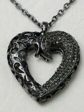 Rare Large Cut Out Heart Gray Smoke Rhinestones Pendant Necklace NE167
