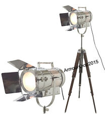 Vintage Nautical SPOT LIGHT Brown Tripod Floor lamp  Searchlight Chrome
