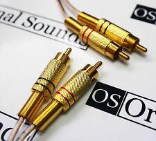 Qualité audiophile 80cm tressé phono hifi interconnect, câble rca plaqué or