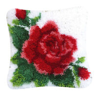 Red Flower Latch Hook Rug Kit DIY Embroidery Cross Stitch for Pillow Case