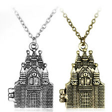 Harry HP Hogwarts School Castle Model Locket Necklace Gold And Silver