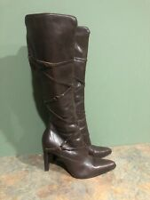 DIBA WOMEN'S BROWN LEATHER SIDE ZIP STILETTO HEELED POINT TOE BOOTS SIZE 6M