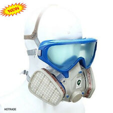 Silicone Full Face Respirator Gas Mask & Goggles Chemical Dust proof Fire Paint