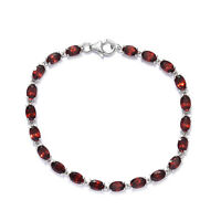 "925 Sterling Silver Platinum Over Garnet Bracelet Jewelry Size 7.25"" Ct 12.2"