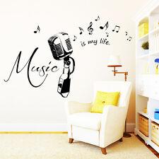 10253 wandtattoo-loft Sticker mural musique est My Life Microphone Mic Notes de