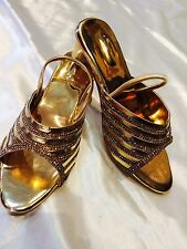 Size 1 Girls Kids Indian Bollywood Fancy  Shoes Heels Slip On Sandals Gold