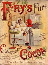 METAL VINTAGE RETRO FRY'S COCOA CHOCOLATE TIN SIGN WALL PLAQUE  KITCHEN
