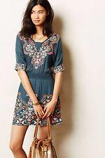 New Anthropologie Womens Blue Rhona Stitched Peasant Dress By Yoana Baraschi L