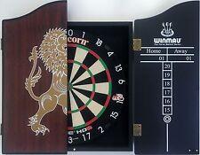 Unicorn HD 2 HD2 Competition Dart Board & TIMBER Walnut Wooden Cabinet + 6 Darts