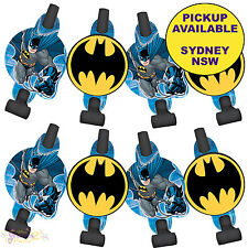 BATMAN PARTY SUPPLIES 8 BLOWERS BLOWOUTS SUPERHERO BIRTHDAY FAVOURS